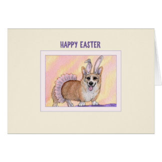 Happy Easter card, Corgi dog in tutu & bunny ears Card