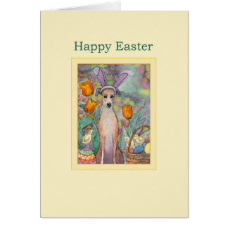 Happy Easter card, Greyhound in bunny ears Card