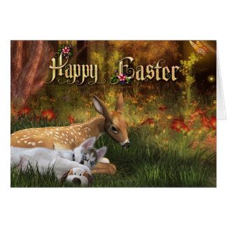 Happy Easter Card - Puppy and Fawn