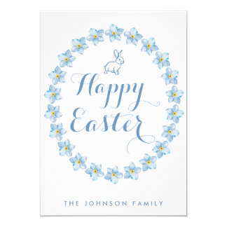 Happy Easter Cards Light Blue Bunny And Wreath 13 Cm X 18 Cm Invitation Card