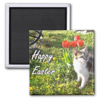 Happy Easter cat magnet