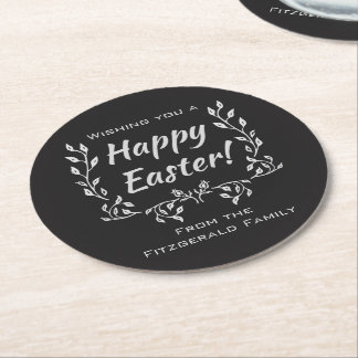 Happy Easter Chalkboard Typography Round Paper Coaster