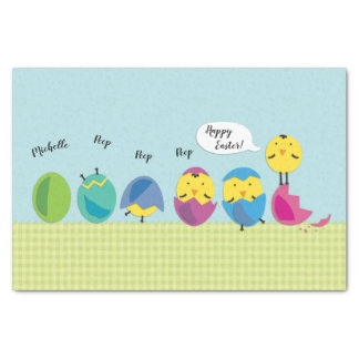 Happy Easter Chick Add Name Tissue Paper