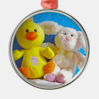 Happy Easter Chick + Bunny Silver-Colored Round Decoration