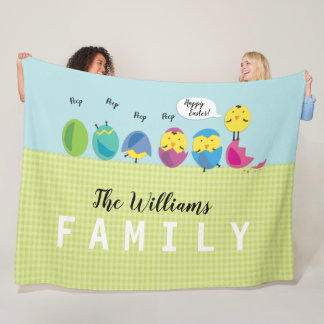 Happy Easter Chick Family Name Fleece Blanket