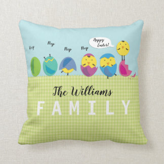 Happy Easter Chick Family Name Monogram Cushion