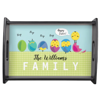 Happy Easter Chick Family Name Serving Tray