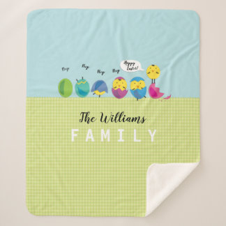 Happy Easter Chick Family Name Sherpa Blanket