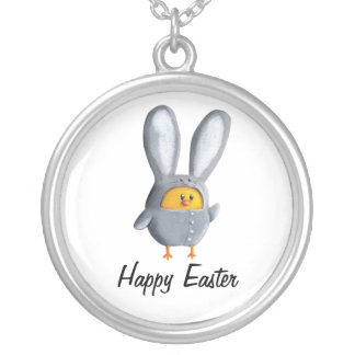 Happy Easter chicken in bunny costume Pendant