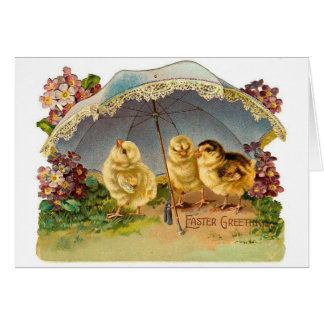 Happy Easter Chicks Vintage Note Card
