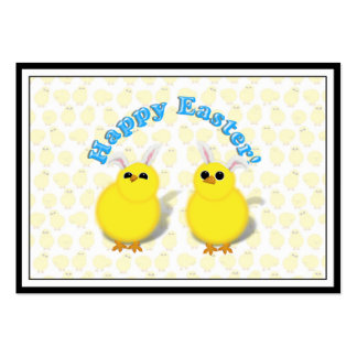Happy Easter Chicks W/Bunny Ears Business Card Template