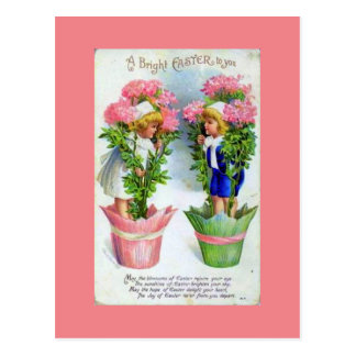 HAPPY EASTER CHILDREN WITH FLOWER POTS POSTCARD
