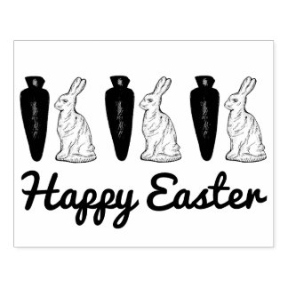 Happy Easter Chocolate Bunnies and Carrots Stamp