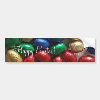 Happy Easter Colorful Chocolate Eggs Photography Bumper Sticker