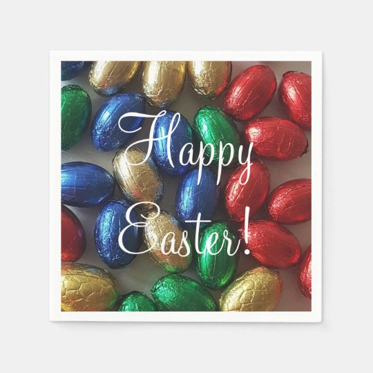 Happy Easter Colourful Chocolate Eggs Disposable Napkins