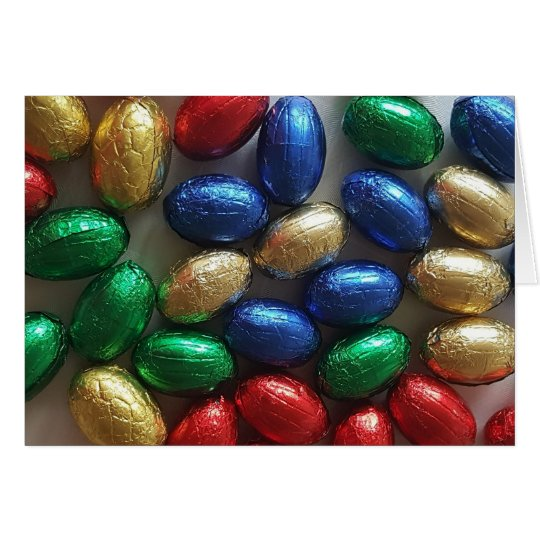 Happy Easter Colourful Chocolate Eggs Photography Card