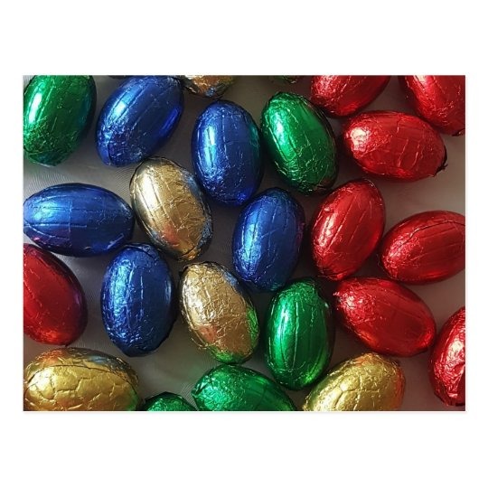 Happy Easter Colourful Chocolate Eggs Photography Postcard