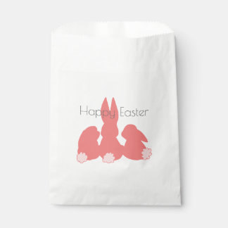 Happy Easter - Coral Pink Easter Bunnies Favor Bag Favour Bags