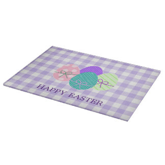 Happy Easter Country Lavender Gingham Pattern Cutting Board