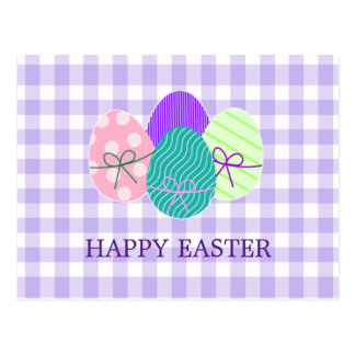 Happy Easter Country Lavender Gingham Pattern Postcard