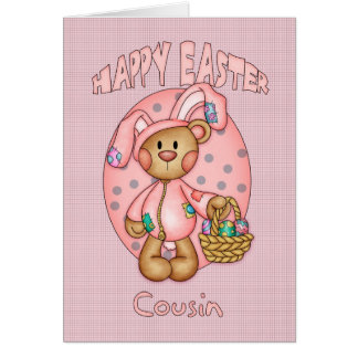 Happy Easter - Cousin - Cute Teddy Bear In Bunny C Greeting Cards