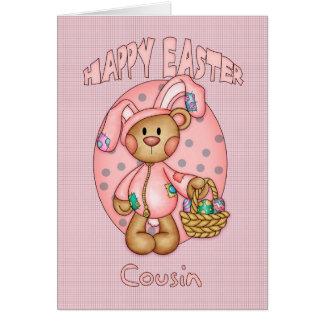 Happy Easter - Cousin - Cute Teddy Bear In Bunny C Card