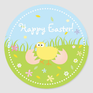 Happy Easter Cute Baby Chick Classic Round Sticker