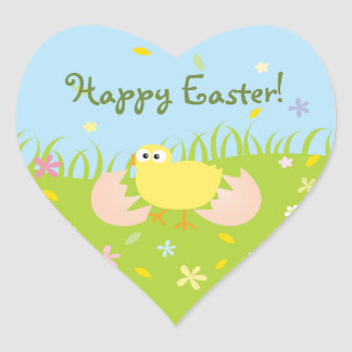 Happy Easter Cute Baby Chick Heart Sticker
