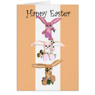 Happy Easter cute bunnies Greeting Card