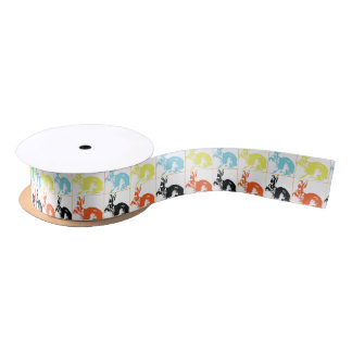 Happy Easter Cute Bunnies Gift Wrapping Satin Ribbon