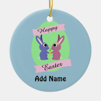 Happy Easter! Cute bunnies Round Ceramic Decoration
