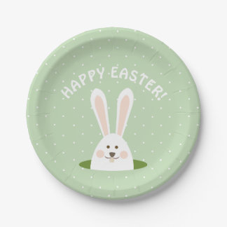 Happy Easter Cute Bunny Paper Plate
