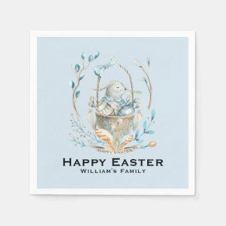 Happy Easter Cute Easter Bunny Basket Disposable Serviette