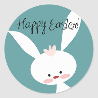 Happy Easter Cute Easter Bunny on Blue Classic Round Sticker