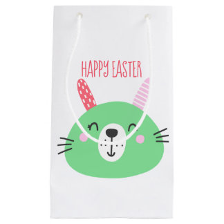 Happy Easter | Cute Green Bunny Small Gift Bag