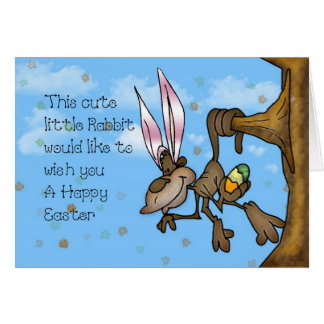 Happy Easter Cute little Monkey Greeting Card