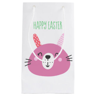 Happy Easter | Cute Pink Bunny Small Gift Bag