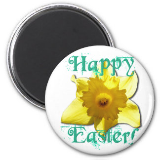 Happy Easter, Daffodil 01.2.T 6 Cm Round Magnet