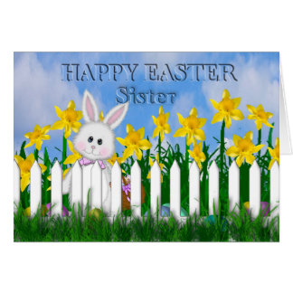 HAPPY EASTER - DAFFODILS AND BUNNY - SISTER CARD