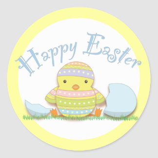 Happy Easter Decorated Chick and Egg Round Sticker