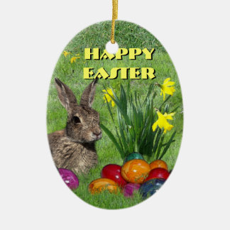 Happy Easter Ceramic Oval Decoration