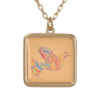 Happy Easter Dove Greeting Text Gold Plated Necklace