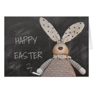 HAPPY EASTER,  EASTER BUNNY BLACKBOARD MESSAGE CARD