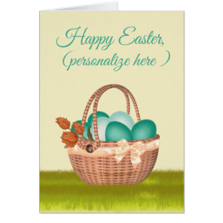 """""""Happy Easter"""" Easter Eggs, Basket, Tulips Card"""