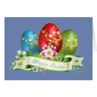 Happy Easter Eggs and Floral Card
