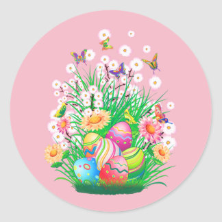Happy Easter Eggs and Floral design Classic Round Sticker