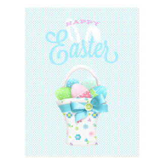 Happy Easter Eggs Basket and Blue Dots Postcard