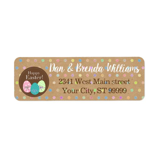 Happy Easter Eggs Polkadots On Faux Kraft Paper Return Address Label