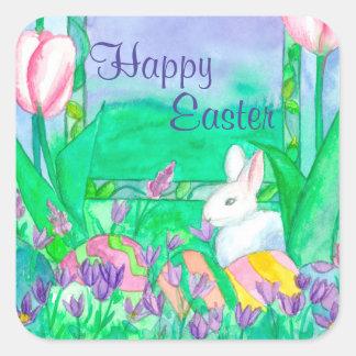 Happy Easter Eggs White Rabbit Square Sticker
