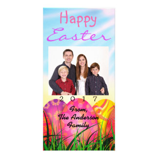 Happy Easter Family Eggs Customize Photo Card